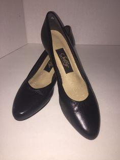 SELBY  Black Leather Med Heel Pumps Women's sz