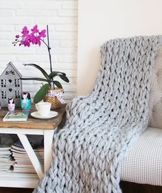 Chunky Knit Blanket, Chunky Knit Throw - now 15% off  with free shipping! - Light Gray, Hand Knit - (43x60 inches)