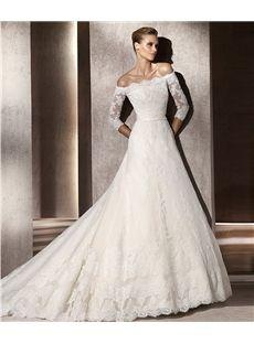 Fabulous A-line 3/4-Length Sleeve Bateau Chapel Train  Wedding Dresses 2012 Spring Trends