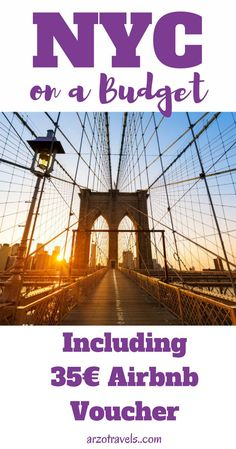 Things to do and see in New York City when you are on a budget or even if you like to do cool things that are just happen to be free. Including an 35$ Airbnb voucher. NYC, Brooklyn Bridge, things to do for free. uSA