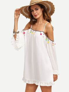 Shop White Pompom Decorated Bell Sleeve Shift Dress online. SheIn offers White…