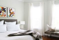 calm and neutral room where artwork on walls is focus. easy to change it out and change the room again