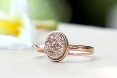 Rose Gold Ring,Quartz Ring,Cocktail Ring,Geode Ring,Druzy Ring,Gemstone Ring,Agate ring,Stone ring,Drusy ring,Delicate ring,Druzy,Geode by HWSTAR on Etsy https://www.etsy.com/listing/190835748/rose-gold-ringquartz-ringcocktail