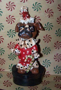 Folk Art Whimsical Boxer Dog Candy Box by DollThreadsandClay