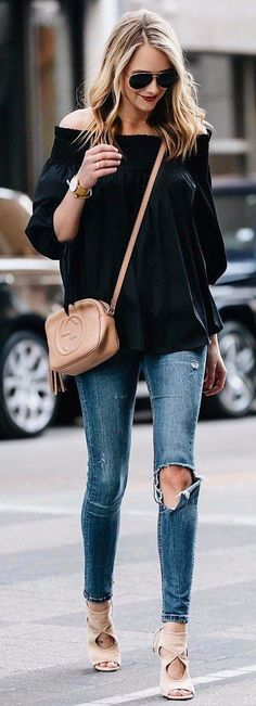 off the shoulder adiiction street style with nude details