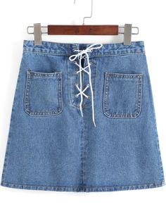 Shop Blue Pockets Bandage Denim Skirt online. SheIn offers Blue Pockets Bandage Denim Skirt & more to fit your fashionable needs.