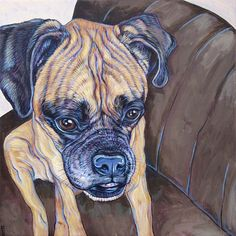"Boxer Dog Custom Pet Portrait Art Painting on Canvas 16"" x 16"" of One Dog, Cat, Other Animal. Custom Background Painted from your Photos by Pet Portraits by Bethany"