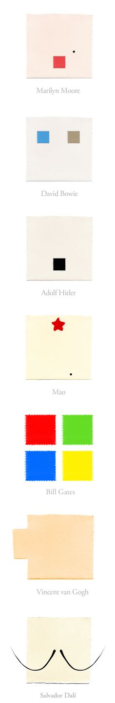 Square People: Marilyn Moore, David Bowie,   Adolf Hitler, Mao, Bill Gates,   Van Gogh & Dali in Squares.   http://www.yiyinglu.com