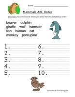 Alphabetical Order Worksheet - Mammals - Have Fun Teaching