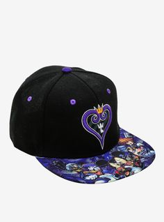47cbc257758 Disney Kingdom Hearts Sublimated Bill Snapback Hat Disney Kingdom Hearts,  Snapback Hats, Hot Topic