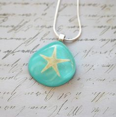 Real Starfish Necklace 01 Turquoise Nautical Resin Jewelry