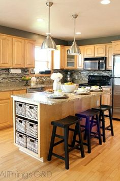 gray kitchen, Sherwin Williams Anonymous paint color, DIY tile backsplash, maple kitchen cabinets, stainless steel light pendants