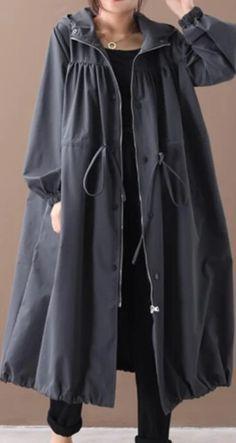 DIY hooded drawstring Fine clothes black silhouette outwears - 2019 new fall coat - Fall Outfit Iranian Women Fashion, Muslim Fashion, Hijab Fashion, Fashion Dresses, Boho Fashion, Plus Size Coats, Estilo Fashion, Minimal Fashion, Stylish Dresses