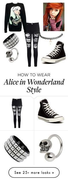 """""""Totally not emo"""" by nicolethestylist on Polyvore featuring Converse, Glamorous, Wet Seal and Disney"""