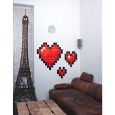Mini Stickers Pixel Coeur : autocollant mosaïque Love design geek et tendance !