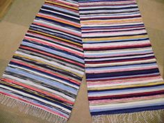 Pitkä uusi räsymatto Recycled Fabric, Woven Rug, Weaving, Rugs, House, Ideas, Rug Weaves, Farmhouse Rugs, Knit Rug