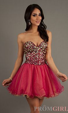 Dave and Johnny Strapless Beaded Party Dress 9232 at PromGirl.com #prom #dress