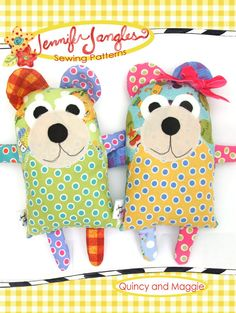 Sewing Animals Patterns Easy PDF Quincy and Maggie Bear Softie Sewing Pattern by Jennifer Jangles - Sewing Toys, Sewing Crafts, Sewing Projects, Love Sewing, Sewing For Kids, Pdf Sewing Patterns, Doll Patterns, Bear Patterns, Softies