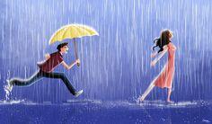 Trendy Ideas dancing in the rain illustration pictures Rain Dance, Dancing In The Rain, Girl Dancing, Dancing Couple, Girl In Rain, Couple Illustration, Illustration Art, Illustration Pictures, Couple Drawings