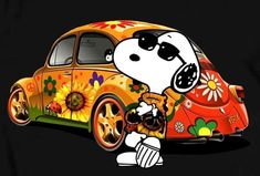Funky, groovy Snoopy with a Volkswagen Beetle Snoopy Images, Snoopy Pictures, Peanuts Cartoon, Peanuts Snoopy, Peanuts Characters, Cartoon Characters, Peace Sign Art, Snoopy Quotes, Snoopy Song
