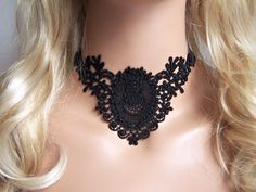 Cameo lace choker necklace black by StitchFromTheHeart on Etsy