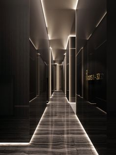 hotel hallway hotel corridor hotel corridor Minimalist Opulence by EDGE Architects Hotel Lobby Design, Elevator Lobby Design, Design Entrée, Flur Design, House Design, Design Logo, Design Ideas, Interior Lighting, Lighting Design