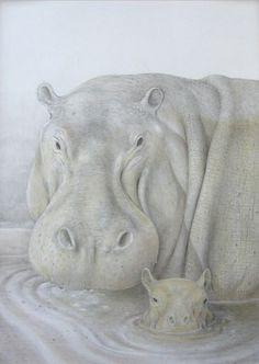 Hippo Pencil Drawing | hippopotamus- 78 x 103 - black and colored pencils