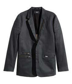 Black denim men's blazer with lapels, front zip, and quilted shoulder sections. | H&M Denim