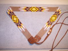 American Indian Bead Loom Patterns | Hatband, Native American Style Loom Beaded Hat Band With Feathers ...