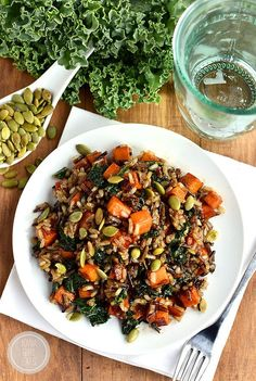 Caramelized Sweet Potato and Kale Fried Wild Rice is a flavor-packed side dish that is anything but forgettable! #glutenfree