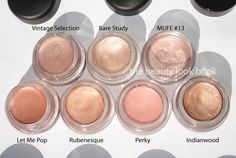 mac paint pots in vintage selection, bare study, mufe #13, let me pop, rubenesque, perky, and indianwood