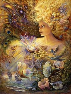 Crystal of Enchantment by the Amazing Josephine Wall. ♥ With her powerful crystal, the enchantress conjures spellbinding magic. Gramophone horns transform into morning glories pouring forth heavenly melodies and great ships sail from seashells to a land where fairies play. The whole world is radiant with magical light and all-encompassing love that flows from her powerful spirit.
