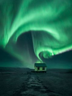 "birdsonqs: "" 'Home Sweet Home' by Arnar Kristjansson "" Northern lights seen in Iceland"
