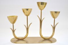 Four-Armed Brass Candlestick by Gunnar Ander for Ystad Metall Sweden