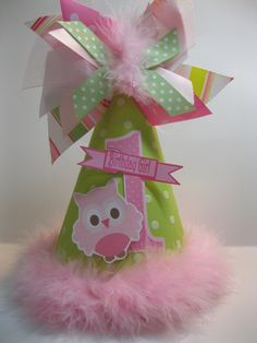 Girls Personalized Light Green and Pink Owl Birthday Party Hat. $12.99, via Etsy.