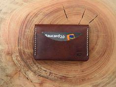 Tri Pocket Marrom Vintage Carteira em couro vintage feita à mão Handmade vintage leather wallet