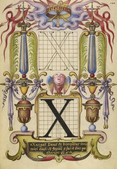 Guide for Constructing the Letter X; Joris Hoefnagel (Flemish / Hungarian, 1542 - 1600); Vienna, Austria; about 1591 - 1596; Watercolors, gold and silver paint, and ink on parchment; Leaf: 16.6 x 12.4 cm (6 9/16 x 4 7/8 in.); Ms. 20, fol. 140