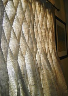 Burlap Smocked Curtains FOUR Panels  On by NaturallyHomeDecor, $350.00... WITH BLACKOUT LINING...
