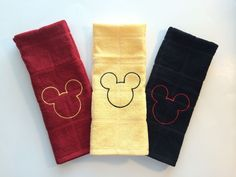Mickey Mouse Kitchen Hand Towel- Set of 3 ( Three) Black, Yellow & Red Mickey Mouse Bathroom, Mickey Mouse Kitchen, Mickey Mouse Club, Disney Mickey Mouse, Disney Pixar, Minnie Mouse, Disney Luggage, Disney Kitchen Decor, Magical Home