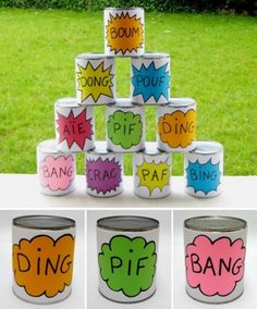 Free printable Labels for cans throw :) so...cute! Could use for carnival game