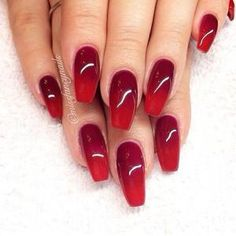 Red gradient coffin nails by lorena