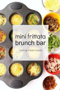 Great frittata breakfast bar idea for your muffin pan! Don't Worry Eat Happy. http://www.familyfreshmeals.com/2015/03/mini-frittata-brunch-bar.html