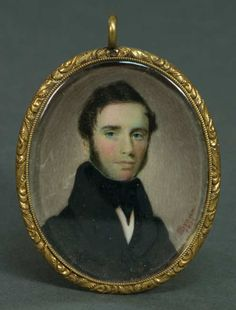 "Miniature Oval Portrait - Young gentleman, signed ""H I Brown"" (Henry I. Brown, 1822-1880), and dated ""1836"", sans hair lock, (note: Howard purchased at Sotheby's Arcade Auction, #1153, lot 132H, January 1986), 2 3/8″ x 2″, (ex. Fertig collection)."