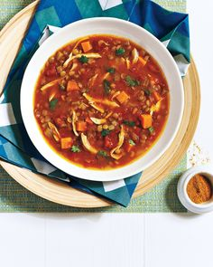 Curried Chicken and Lentil Soup With Sweet Potato