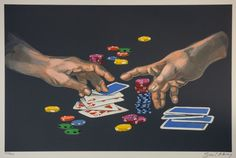 """First Gamble"" by Waldemar Swierzy Lithograph for sale $920  #gambling #lasvegas #art #lithography #cards #playingcards #waldemarswierzy #sweirzy #printmaking"