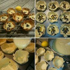 Tadaaa.. Här är mitt resultat av mina hembakta glassrån skålar.   Yes! Det här gick ju hur bra som helst! Tog och gräddade citron- och blåbärsmuffins i mina hemgjorda glassrån skålar. Nu saknas bara liten toppingen ovanpå.