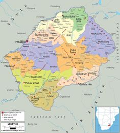 Map of Lesotho and Basotho Political Map