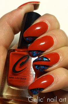 Gelic' nail art: Abstract nail art in red, blue and black
