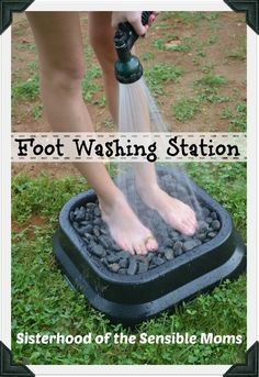 A Summer Project You'll Actually Use Every Day: An Outdoor Foot Washing Station. SO smart. Could put in the mulch part- use a shorter hose w/spray head