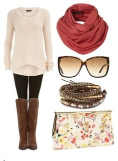 Work Outfit Styles: Fall outfit with long boots. Looks quite comfortable. More fall outfits I like the sweater Beauty And Fashion, Look Fashion, Passion For Fashion, Fashion Fall, Girl Fashion, Weekend Fashion, Fashion Check, Cute Fall Outfits, Fall Winter Outfits